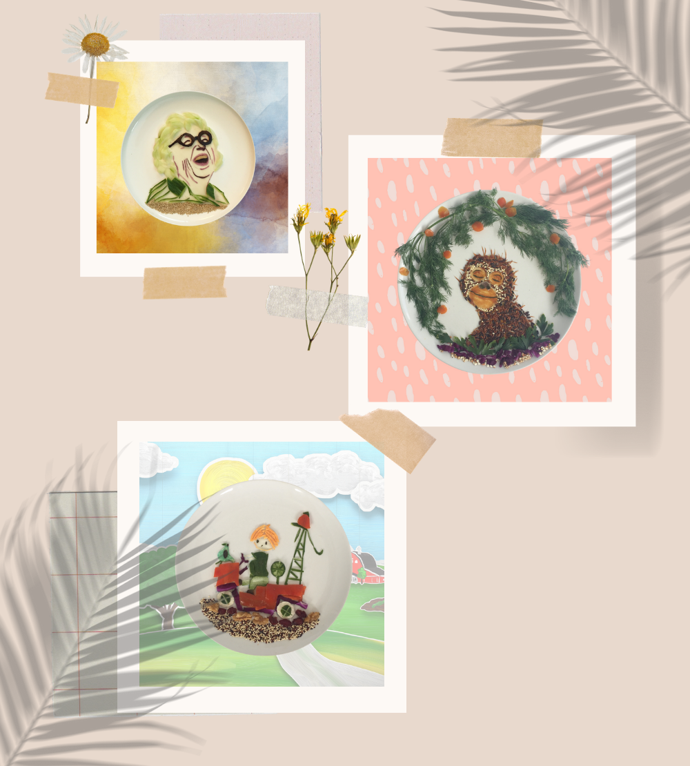 Colorful food art of Annie MG Schmidt, Orang Utan, Pluk