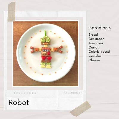 Easy Fun Food Art from bread that shape like robot