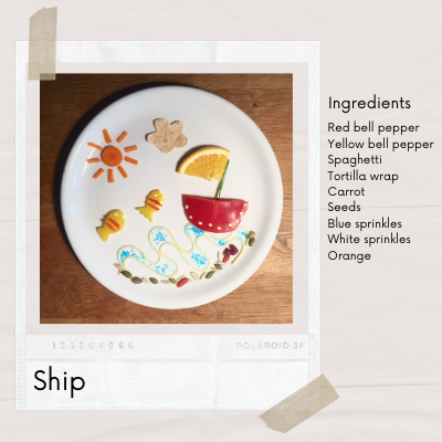 Ship food art for kids that made from bell pepper