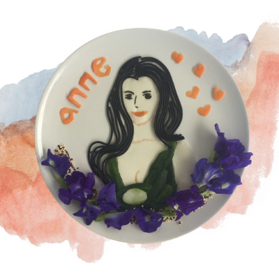 Anne Hathaway Food Art from Spaghetti, cucumber, tortilla bread, blue flowers, carrots and etc