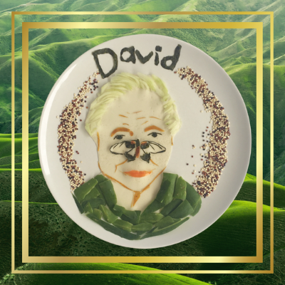David Attenborough made from cucumber, wraps, carrots, quinoa. and food coloring.