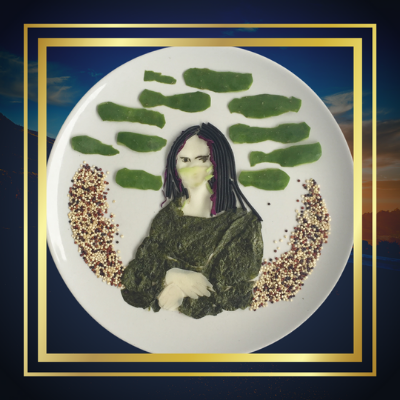 Monalisa with facemask food art made from seaweed, spaghetti, cucumber, and quinoa.