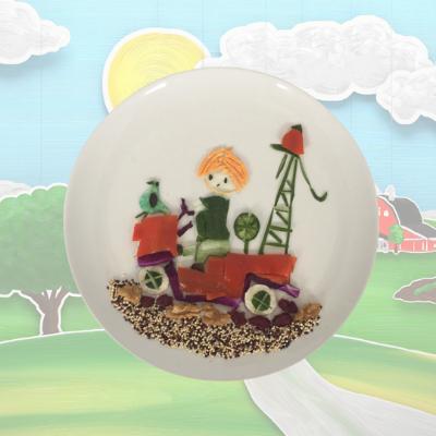 Dutch Children Book Character, Pluk van De Petteflet. It is made from bell peppers, cucumber, wraps, eggs, quinoa and seaweed.