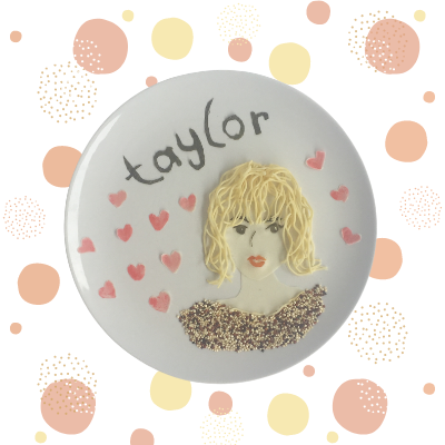 Taylor Swift Food Art made from noodle, tomatoes, seaweed and quinoa
