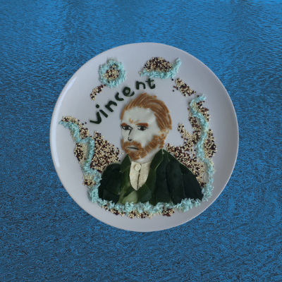 A very famous Vincent van Gogh in food art made from cucumber, spaghetti, wraps, seaweed, quinoa, blue rice and food coloring.